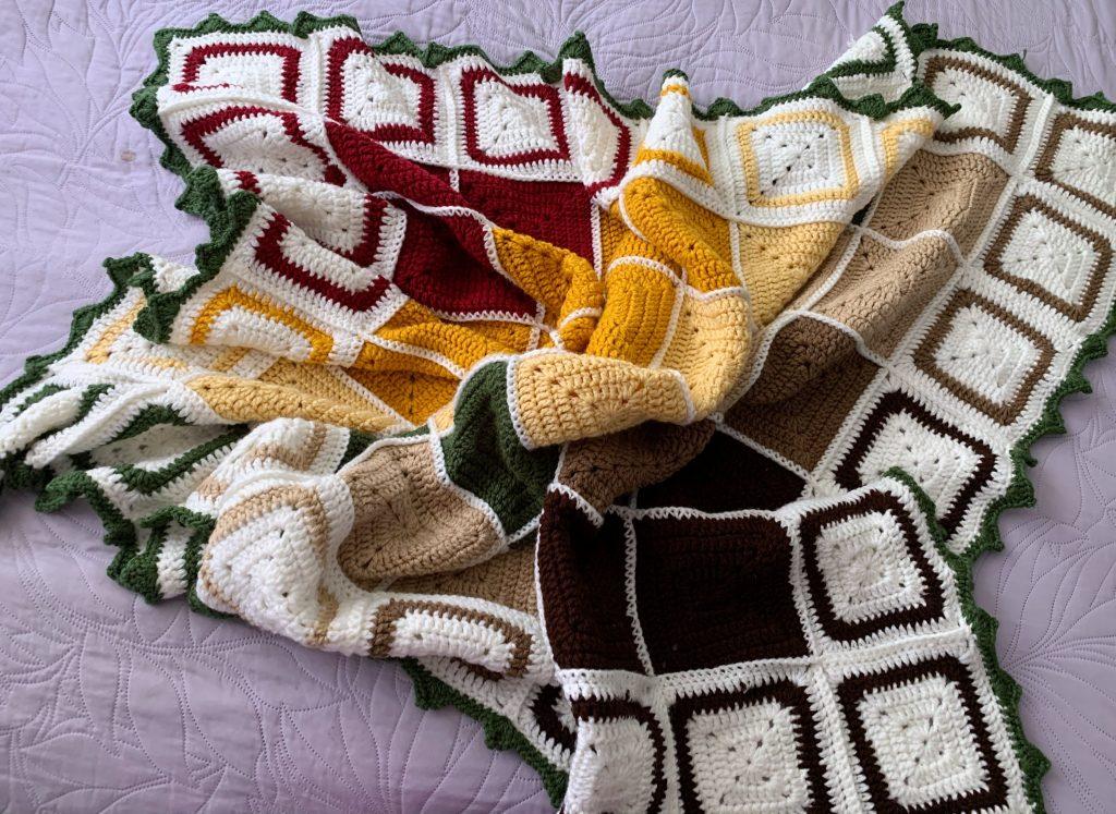 Autumnal Tetris Throw Crochet Blanket Pattern - www.craftaboo.com